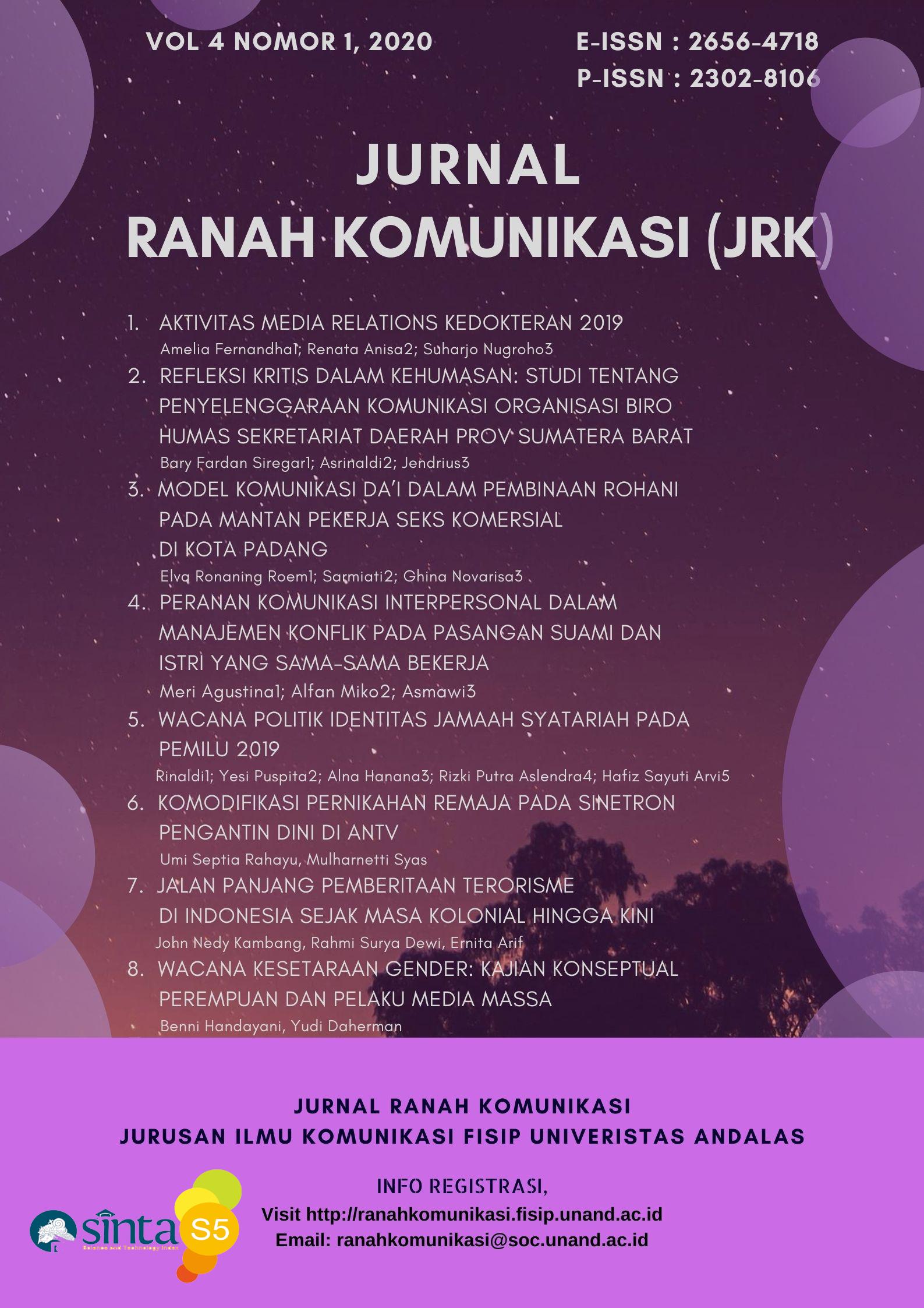 Jurnal Ranah Komunikasi(JRK)Volume 04Nomor 01Tahun 2020